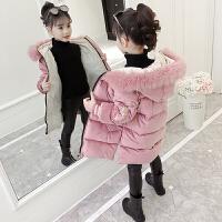 2019新款时尚儿童洋气长款棉袄12-15岁女童冬季棉衣外套