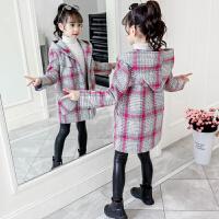 女童加厚毛呢童装外套2019秋冬款中大童洋气加绒上衣呢子大衣