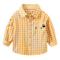 儿童长袖衬衫纯棉春秋 男童翻领上衣 宝宝格子衬衣