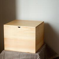新品研木实木带盖衣服整理箱子储物收纳箱床头柜木箱工具箱书箱陈列箱 图片款 36x34x28cm