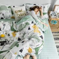 ins可爱全棉四件套简约棉三4件套学生宿舍床上用品床单被套 2.0m(6.6英尺)床 @床笠款套件