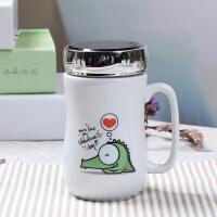 马克杯带盖勺大容量情侣咖啡杯创意简约办公室水杯可爱陶瓷杯子