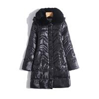 羽绒服女中长款2018冬季大码加厚大毛领保暖妈妈装百搭羽绒服外套 2
