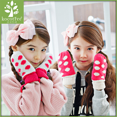 KK树儿童手套秋冬宝宝手套加绒保暖女童可爱棉手套加绒保暖  时尚可爱