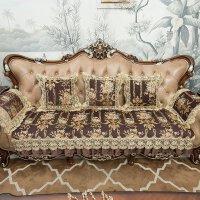 欧式沙发垫布艺客厅123组合套四季通用夏季防滑咖色坐垫