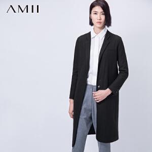 Amii[极简主义]冬通勤修身翻领中长款大码毛呢外套