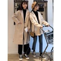 秋冬女装2018新款小个子韩版中长款休闲呢子大衣宽松风衣毛呢外套