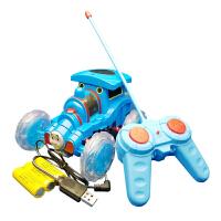 USB充电蓝色托马斯遥控车 遥控汽车特技车360旋转玩具车翻跟头车火车翻斗车粉红小猪 USB充电托马斯特技车(中号)