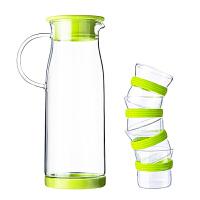 天喜(TIANXI)玻璃水壶 居家办公耐高温凉水壶套装 大容量冷水瓶果汁壶 绿色生活玻璃壶+绿色生活小巧杯