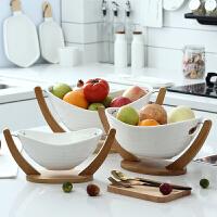 创意水果篮现代客厅陶瓷糖果干果盘收纳篮果盘摇摆沥水篮过年礼品 加大元宝 没有沥水 可约装11个苹果