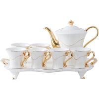【新品热卖】陶瓷客厅杯子套装欧式家用咖啡杯套装茶具茶杯杯具带托盘礼盒 白色金 6杯1壶1托 礼盒装 8件