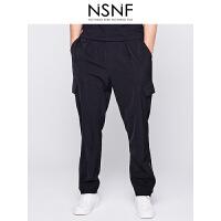 NSNF脚口拉链立体袋黑色男士长裤 休闲裤 2017年新款男士休闲裤 潮牌男裤
