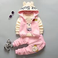 男女童加绒加厚秋天套装女宝宝秋冬款1-3-4岁儿童套装婴儿童棉衣2