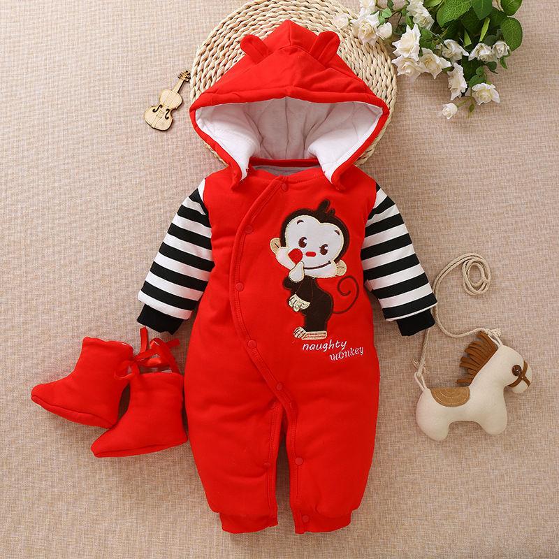 婴儿连体衣秋冬季加厚男女宝宝棉衣婴儿衣服婴儿外出服爬行服 红色小猴 59码(建议0-3月) 批量拍下不发货
