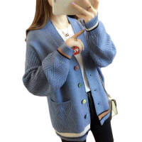 【厂家直销】多款多色可选 2020秋冬针织衫女韩版口袋撞色外套女宽松长袖上衣外搭女
