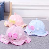 可爱男童渔夫帽网眼凉帽女童太阳帽潮儿童帽子夏季薄款遮阳帽