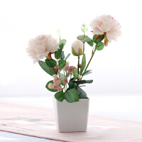 牡丹花假花仿真玫瑰牡丹绢布塑料假花盆栽套装家居客厅餐桌装饰小摆件设A