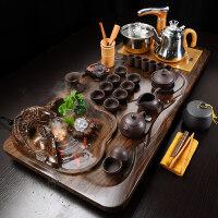【新品】 新款流水茶盘家用中式电磁炉四合一茶具套装功夫茶具紫砂 34件