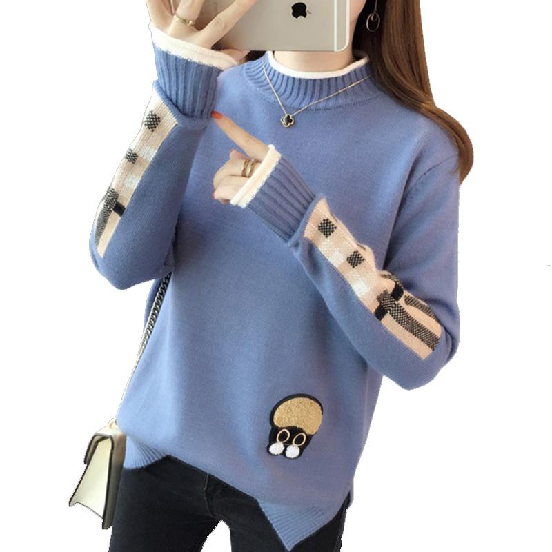【今日必抢】半高领毛衣女冬短款甜美打底针织衫新款套头韩版宽松外穿