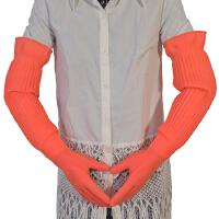 一体加长加厚乳胶洗碗洗衣家务防水清洁橡胶手套56cm送棉内胆 粉红色