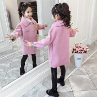 女童中长款呢子大衣外套2019秋冬季新款洋气女孩童装