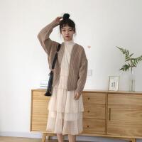 秋季女装韩版中长款甜美气质花边蕾丝网纱长袖宽松显瘦连衣裙长裙 均码