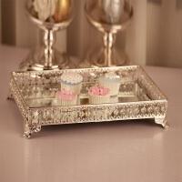 欧式金属镀银干果盘长方形 婚庆甜品摆台化妆品收纳家居装饰