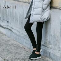 Amii[极简主义]时尚休闲百搭弹力加绒保暖显瘦打底裤
