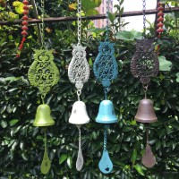 铸铁猫头鹰风铃挂件铁艺风铃户外花园装饰园艺杂货质