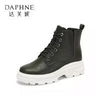 Daphne/达芙妮女鞋冬新款时尚短靴帅气个性BF风户外休闲马丁靴女-