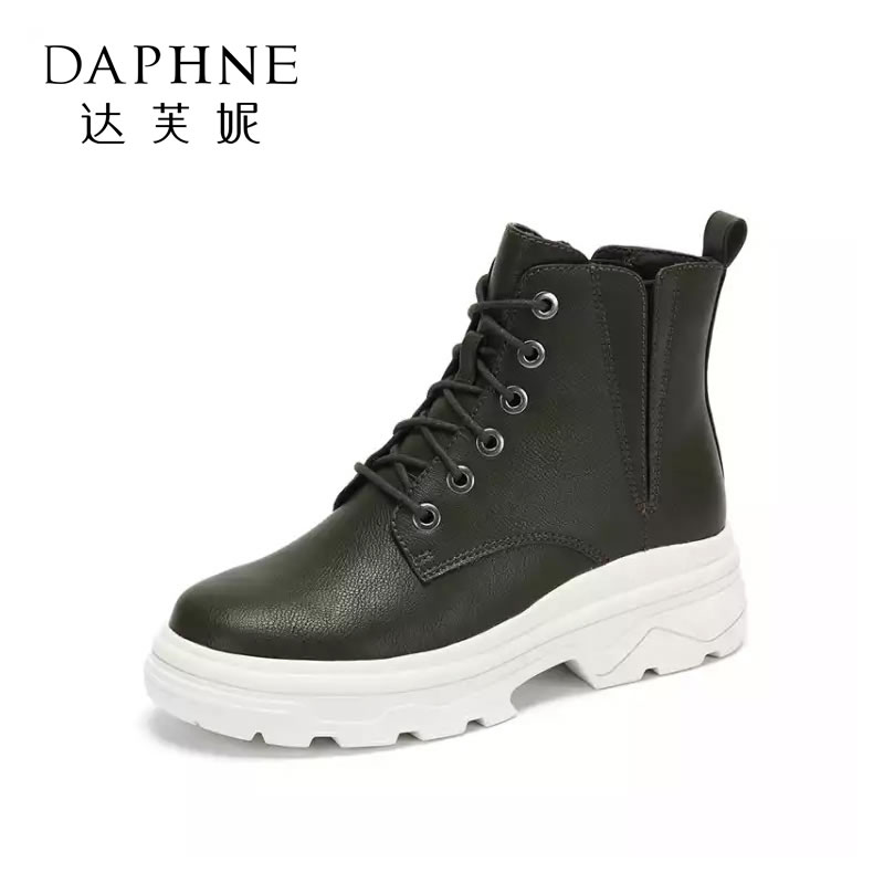 Daphne/达芙妮女鞋冬新款时尚短靴帅气个性BF风户外休闲马丁靴女- 支持专柜验货 断码不补货