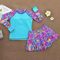 女童中大童分体裙式长袖泳装6-8-12岁女孩游泳衣