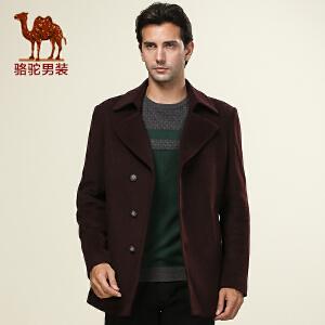 新品 骆驼男装 男装休闲风衣 男士中长款单排扣外套