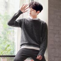 2件】秋冬季男士毛衣韩版针织衫圆领毛线衣男装潮流纯色外套长袖G