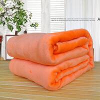 纯色法莱绒礼品毛毯薄款珊瑚绒法兰绒床单瑜伽毯子可印logo定制 桔