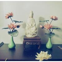 佛堂供花假花中式仿真花艺供花绢花莲花荷花装饰禅意插花含花瓶