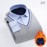 冬季男士长袖保暖衬衫加绒加厚假两件修身商务休闲衬衣中年针织衫