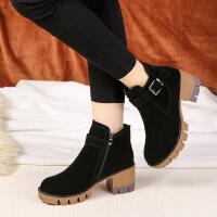 马丁靴女新款秋冬季高跟鞋百搭粗跟水台短靴加绒厚底女鞋潮