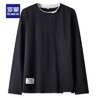 罗蒙男士长袖Polo衫2021春季新款纯棉休闲上衣中青年百搭圆领T恤