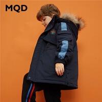 【1件3折:390】MQD童装男童2019冬季新款连帽中大儿童中长款棉衣大毛领加厚