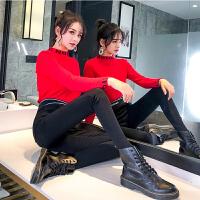 加绒加厚打底裤女外穿秋冬高腰黑色加长紧身小脚运动裤子