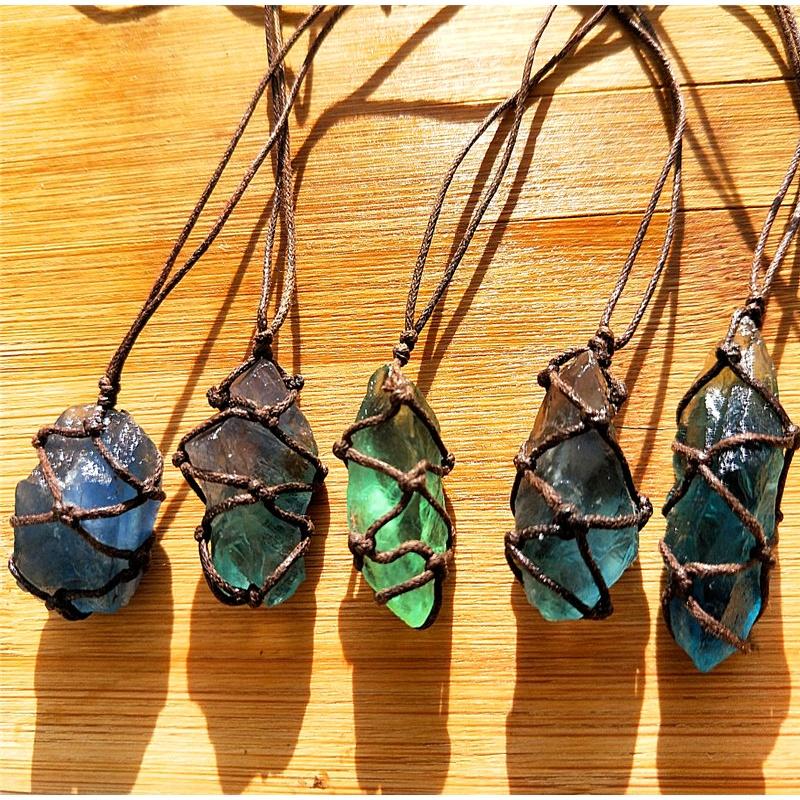 水晶蓝绿色萤石原石吊坠项链坠 萤石手工编织复古吊坠设计款 棕色绳子款