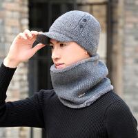 帽子男士秋冬季韩版护耳针织保暖鸭舌帽户外骑车防风加绒加厚围脖