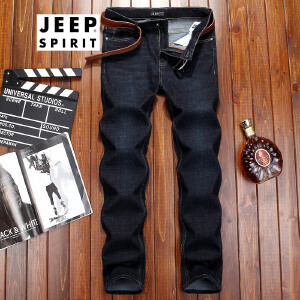 吉普JEEP男款牛仔裤男士牛仔长裤子商务休闲青年男装牛仔裤