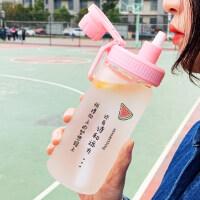 吸管水杯女玻璃杯清新创意简约便携刻度韩版个性潮流森系网红杯子