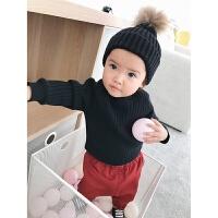 婴童装秋冬装女童宝宝毛衣套头加绒百搭婴儿加厚打底衫上衣