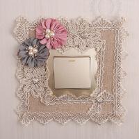 开关套保护套客厅布艺开关贴现代创意插座面板装饰婚房家用卧室 欢乐颂咖色
