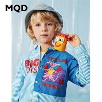 MQD童装男童假两件衬衫2020春秋新款落肩袖中大童韩版宽松衬衣
