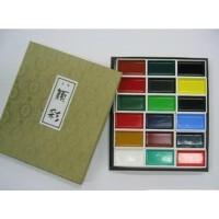 日本进口国画颜料吉祥颜彩18色岩彩重彩画矿物色颜料