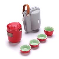 唐丰旅行功夫茶具便携套装卡通可爱陶瓷泡茶壶简约快客杯一壶四杯